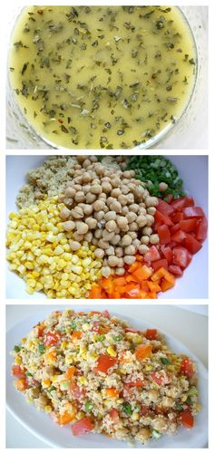 Quinoa Vegetable Salad with Lemon-Basil Dressing ~ 1c uncooked quinoa; 15 oz can garbanzo beans, rinsed and drained; 3 Roma tomatoes; 1 orange bell pepper; 1½c corn; 4 green onions ~ Dressing: 2 TBsp olive oil; 2 TBsp fresh lemon juice; 1½ tsp basil ~ Rinse quinoa, and cook according to pkg directions; let cool Whisk together olive oil, lemon juice, and basil. Add all ingredients. ~