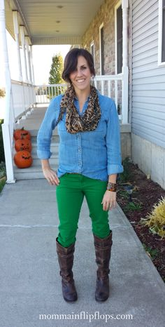 Green jeans, boots, denim and leopard print scarf