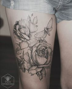 thigh tattoo for girl - 55 Lovely Tattoos for Girls | Art and Design