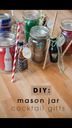 Mixed adult beverages in a jar!