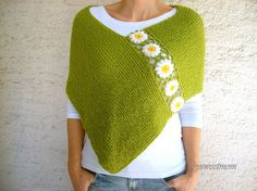 Green Poncho with Daisy Flowers, Wool Green Shawl Wrap, Holiday Fashion, Spring Poncho  This hand knit green poncho is embellished with crochet white