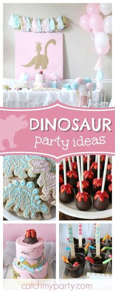 Don't miss this pretty Dinosaurs & Sparkles little girls' birthday party! The dinosaur cookies are adorable!! See more party ideas and share yours at CatchMyParty.com #partyideas #girlbirthday #dinosaur