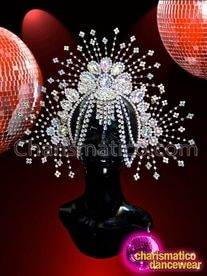 Iridescent Shimmering Crystal And Rhinestone Spiky Diva Showgirl's Cabaret Headdress Feather Headdress, White Glitter, Showgirls, Cabaret, Black Feathers, Timeless Fashion, Crystal Rhinestone, All The Colors, Iridescent