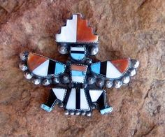 OLD ZUNI KNIFEWING Brooch/Pin, Turquoise, Coral, Onyx & Mother of Pearl Inlay, Sterling