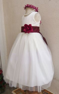 IVORY flower girl dress more than 20 sash and flower colors Burgundy/Wine 004A