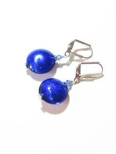 Murano Glass Cobalt Blue Disc Silver Earrings Italian by JKCJewels
