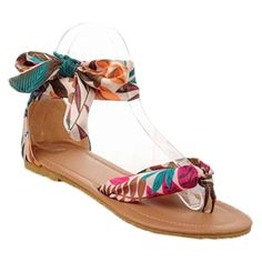 Donalworld Women Bohemia National Print Lace Ankle Ribbon Wrap Flip Flop Flat Sandals >>> To view further for this item, visit the image link.