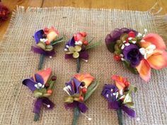 Boutonnieres (5) & Corsage (1) Silk Flowers Plum/orange, 75% off | Recycled Bride