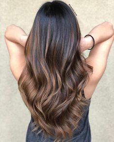 Soft Warm Brown Balayage For Black Hair