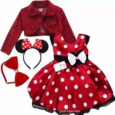 Vestido Festa Infantil Minnie Vermelha Com Bolero E 2 Tiaras - R$ 119,90 Disfraz Minnie Mouse, Minnie Mouse Doll, Minnie Mouse Birthday Outfit, Minnie Mouse Theme, Baby Birthday, Outfits For Teens, Trendy Outfits, Baby Dress, Doll Clothes