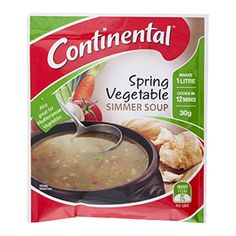 Hiking Food: Continental Spring Vegetable Simmer Soup Continental Spring Vegetable Simmer Soup + 500 ml water (1/2 quantity) + I Tablespoon (approx) Surprise Garden Peas + 8 Teaspoons Continental Deb Instant Mashed Potato. Ultra Light Hiking Backpacking