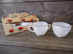 Anchor Hocking Creamer and Sugar in Original Box by Catsandclover on Etsy