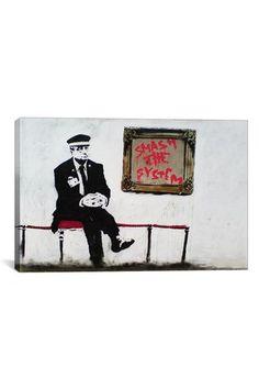 Banksy Banksy Bristol Museum 18in x 12in Canvas Print