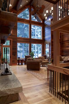 Cedar Homes Design Ideas, Pictures, Remodel, and Decor. Love the high ceilings. Rustic Home Design, Dream Home Design, Rustic Homes, Wood Design, Rustic Style, Rustic Lake Houses, Modern Design, Rustic House Plans, Lake House Plans