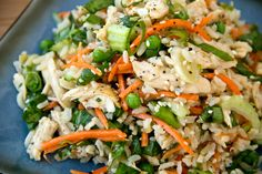 Asian-style brown rice salad w/ orange sesame-soy vinaigrette: bok choy, carrots, peas, shredded chicken (reduce rice to 2 c.)