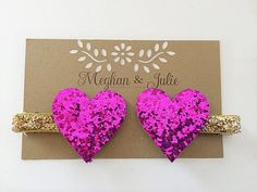 Fuchsia and Gold Glitter Hearts Hair Clips Pink by MeghanandJulie