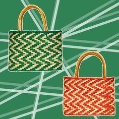 E as bolsas tote de fibras de junco, nas versões verde e laranja (R$ 454 cada), também da Nannacay