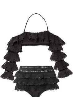 ZIMMERMANN Painted Heart Love tiered lattice-trimmed Swiss-dot lace bikini. #zimmermann #cloth #