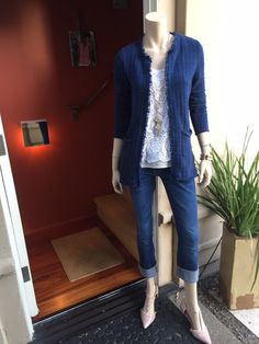 """Duchess Cardigan worn w/ my """"old"""" love - The Bobbin Lace Top and my fave Laguna Wash Boyfriend Jeans to work Tuesday night and my customers shopped the look - even down to the Wink Necklace.  All CAbi of course - yes CAbi jewelry as well, can you believe it!!!"""