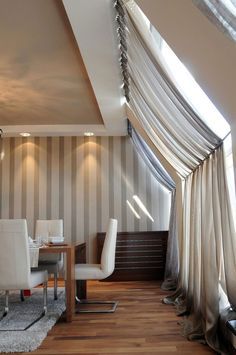 Exclusive Belgrade Penthouse Combines Dynamic Design With Plush Decor Modern Window Design Curtains Attic Rooms