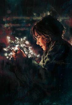 He talks through the lights, fan art by Alice X. Zhang