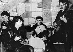 1961 - George Harrison, Paul McCartney, Pete Best and John Lennon, The Cavern Club, Liverpool, England.