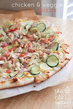 Chicken and Veggie Pizza -The Best Superbowl Snacks