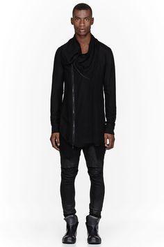 JULIUS Black Draped Linen Cardigan