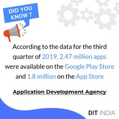 According to the data for the third quarter of 2019, 2.47 million apps were available on the google play store and 1.8 million on the app store. #appdevelopment #webdevelopment #mobileappdevelopment #appdesign #appdeveloper #android #mobileapp #ios #webdesign #app #digitalmarketing #seo #mobileapps #business #coding #programming #startup #webdeveloper #softwaredevelopment #developers #developer #androiddeveloper #entrepreneur #technology #apps #uidesign #iosappdevelopment