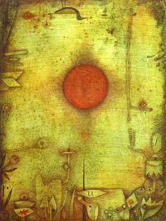 Ad Marginem (1930)  von Paul Klee: »Wir stehen aufrecht in der Erde verwurzelt Ströme bewegen leicht uns hin und her frei ist nur die Sehnsucht dorthin: zu Monden und Sonnen.«