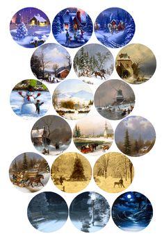 "Winter Art Scenes Bottle cap image pack Formatted for printing on 4"" x 6"" photo paper Bottle Cap Jewelry, Bottle Cap Art, Bottle Top Crafts, Diy Bottle, Bottle Cap Magnets, Christmas Paper Crafts, Diy Resin Crafts, Theme Noel, Altered Bottles"