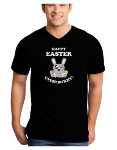 TooLoud Happy Easter Everybunny Adult Dark V-Neck T-Shirt