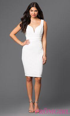 Ivory Knee Length Graduation Dress Style: EM-ENW-1606-120