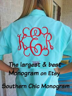 Preppy monogrammed columbia pfg fishing shirt with lilly for Custom embroidered columbia fishing shirts