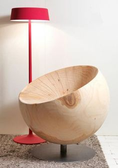 Solid wood chair globe by Riva 1920