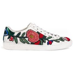 Gucci Ace Embroidered Low-Top Sneaker (4.135 DKK) ❤ liked on Polyvore featuring shoes, sneakers, chaussures, women, leather shoes, floral-print shoes, leather trainers, gucci trainers and rubber sole shoes