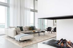 Fire place: House tour: a beautifully modern penthouse apartment in Antwerp