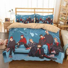 Bts Or Bangtan Boys A South Korean Boy Group Formed And Managed By Big Hit Entertainment The Best Gift For Army Bedding Set - Quit Cover + 2 Pillow Cases Duvet Bedding Sets, Queen Size Bedding, Linen Bedding, Comforters, Custom Bedding, Bedroom Sets, Bedroom Decor, Army Room Decor, Korean Boy