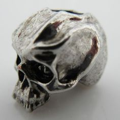 Cyber Skull Bead in Antique Rhodium Finish by Schmuckatelli Co.