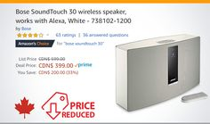 Bose SoundTouch 30 wireless speaker, works with Alexa, White - Works With Alexa, Wireless Speakers, Bose, It Works, Nailed It
