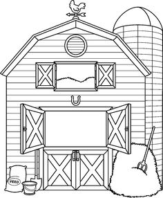 Old House clipart farm house Farm Animal Coloring Pages, Coloring Books, Colouring, Clip Art Library, Free Library, Farm Quilt, Barn Quilt Patterns, Farm Crafts, Clipart Black And White