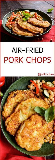AirFried Pork Chops Recipe is made with cayenne pepper black pepper salt pork loin chops Dijon mustard bread crumbs Air Fryer Recipes Potatoes, Air Fryer Recipes Low Carb, Air Fryer Dinner Recipes, Recipes Dinner, Drink Recipes, Air Fry Pork Chops, Fried Pork Chops, Pork Loin, Pork Rinds