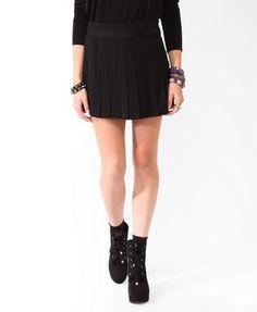 Pleated Ribbon Trim Miniskirt | FOREVER 21 - 2021840801