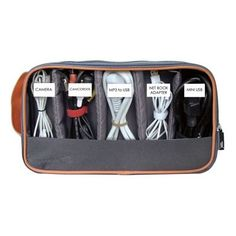 Great way to keep cords organized in laptop case when traveling!