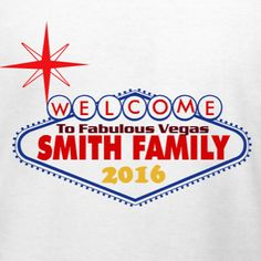 Las Vegas family vacation t-shirt template. Edit to add your family name and dates. Choose your favorite t-shirt or tank top products and make a big statement in Las Vegas this year. Free 10-day delivery in the U.S.