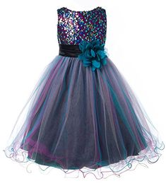 OLIVIA KOO Multi Sequined Bodice with Double Tulle Skirt Flower Girl Dress TEAL 6 *** You can find out more details at the link of the image.