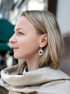 oversize earrings with gemstones Handmade silver and smoky quartz hoops with texture