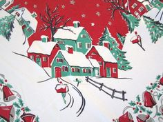 Retro Christmas Tablecloth | Old Tablecloths | Vintage Christmas Tablecloth Winter Currier & Ives ...