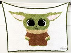This Baby Yoda blanket crochet pattern is free, fun & easy. If you are looking for a Star Wars baby blanket pattern, look no further! Christmas Crochet Blanket, C2c Crochet Blanket, Owl Blanket, Afghan Crochet Patterns, Crochet Blankets, Baby Blankets, Crochet Beanie, Christmas Afghan, Crochet Cardigan