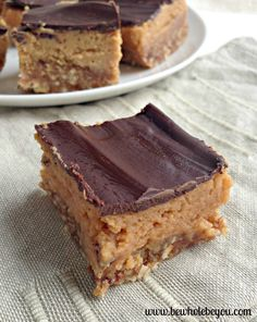 Clean Eating Peanut Butter Cream Bars. These are dairy free, gluten free and vegan. Good enough to share with everyone!